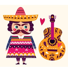 Mexican and guitar vector