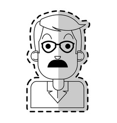 Middle age man with glasses and mustache icon vector