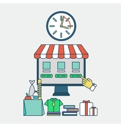 online shopping saving of time vector image vector image