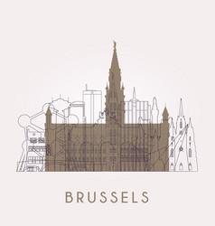 Outline brussel vintage skyline with landmarks vector
