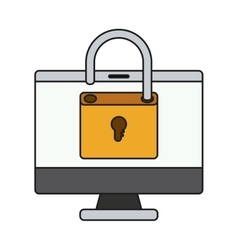 Padlock and computer of security system design vector
