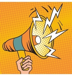 Pop art megaphone design loudspeaker cartoon vector image