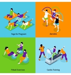 Pregnant woman fitness concept icons set vector