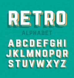 retro style 3d alphabet vector image vector image