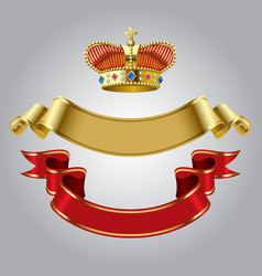 royal crown with gold and red ribbons vector image vector image