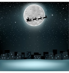 Santa flying deer moon vector image