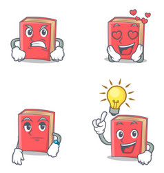 Set of red book character with angry love waiting vector