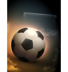 Soccer ball and steel goal background vector