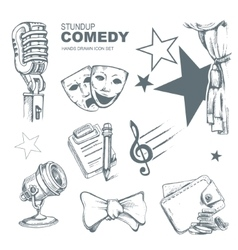 Standup comedy icons set vector