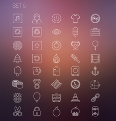 Thin icon set 5 vector