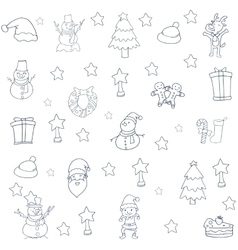 Collection christmas set of doodles vector