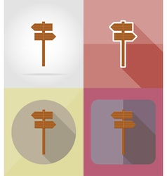 wooden board flat icons 09 vector image