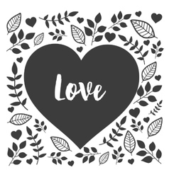 Black heart with hand drawn nature sign love vector