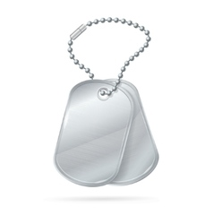 Military id tag silver army medallion set vector