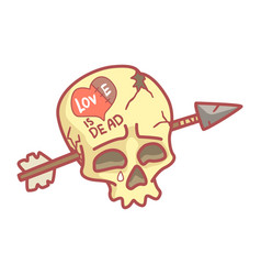 Skull with inscription love is dead pierced by vector