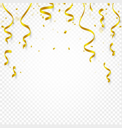 gold confetti falling and serpentine and ribbons vector image