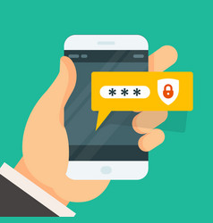 Password entering on smartphone - smart phone vector