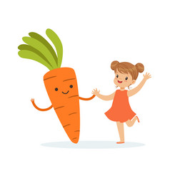Happy girl having fun with fresh smiling carrot vector