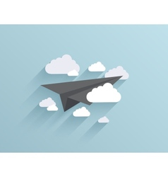 flat origami airplane icon background vector image
