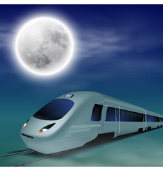 High-speed train at night with full moon vector