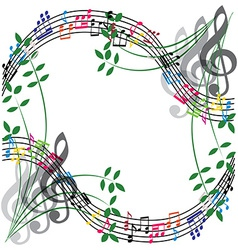 Music notes composition musical theme background vector image