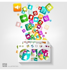 Full battery icon application buttonsocial media vector