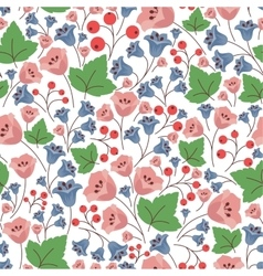 Bell flowers and berries seamless pattern vector