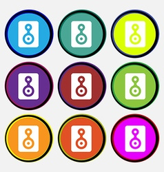 Video tape icon sign nine multi-colored round vector