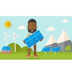 African man holding a solar panel vector