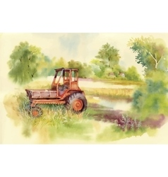 Watercolor tractor machine in yard equipment on vector