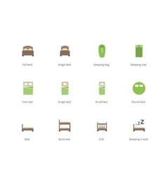 Hotel beds and sleep signs color icons on white vector