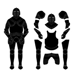 Medieval knight armor set Black vector image