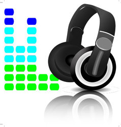 Headphones equalizer vector image