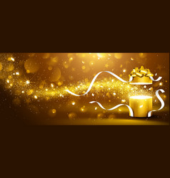 Golden box with stars and confetti vector