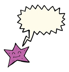Cartoon star character with speech bubble vector