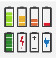 Set of colourful battery charge level indicators vector