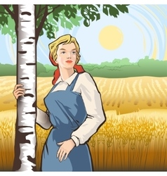 Girl birch wheat vector