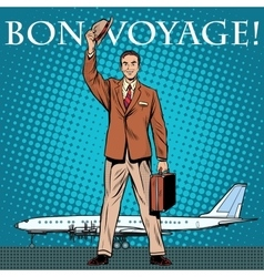 Bon voyage businessman passenger airport vector