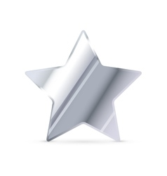 Glossy silver rating star with shadow on white vector