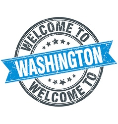 Welcome to washington blue round vintage stamp vector