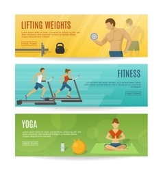Sportive lifestyle horizontal banners set vector