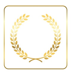Gold laurel wreath symbol victory vector