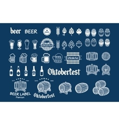 Beer icon chalkboard set - labels posters signs vector