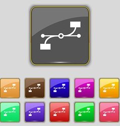 Bezier curve icon sign set with eleven colored vector