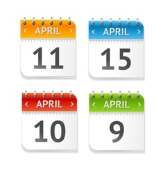 Calendar April with Dates Set Flat Design vector image