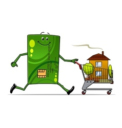 Cartoon credit card pushing a cart with house vector image