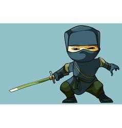 Cartoon ninja with sword vector