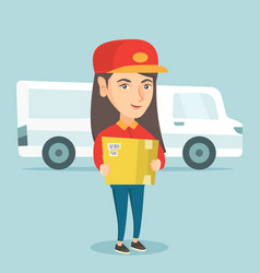 Caucasian delivery courier holding a cardboard box vector