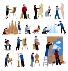 Creative profession people icons set vector
