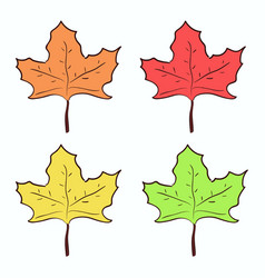 cute hand drawn maple leaves set vector image vector image